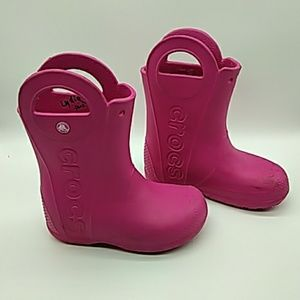 Crocs Kids pink boots size 13 pink pre owned